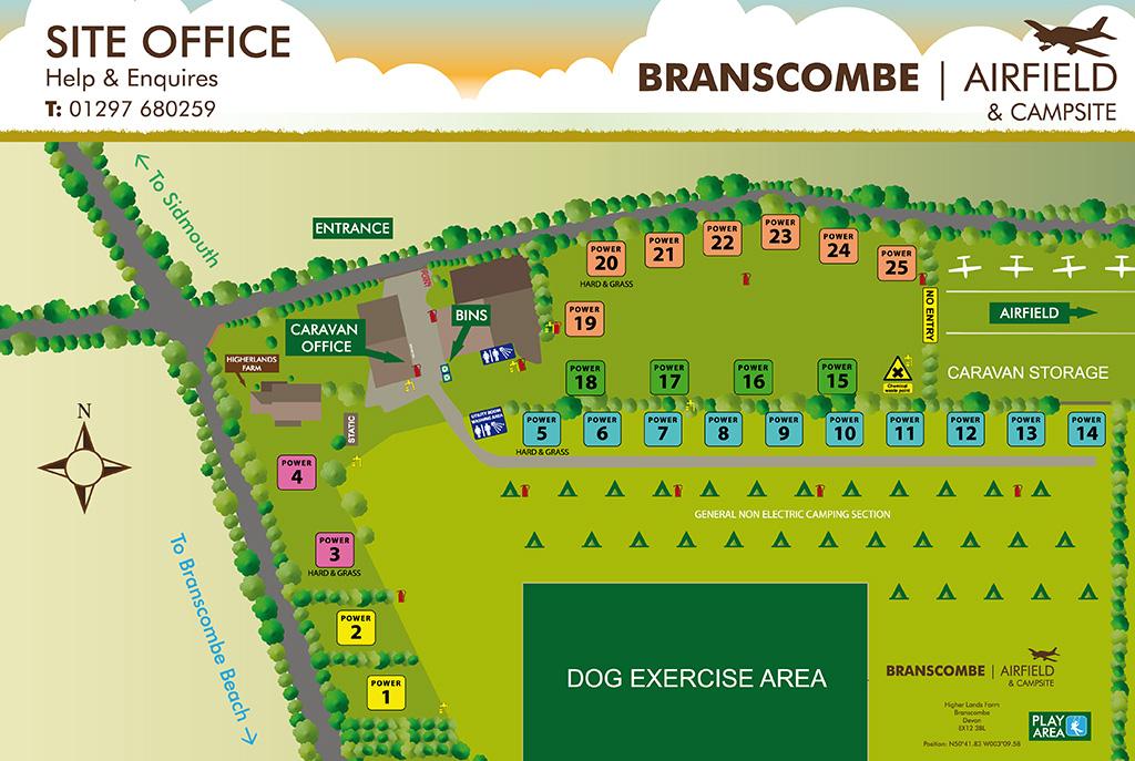 Branscombe Campsite Map